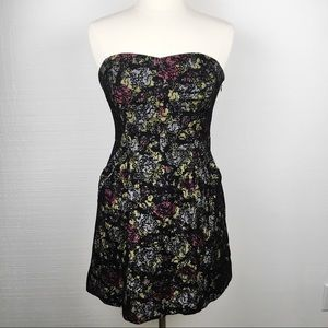 Free People Black Lace Floral Strapless Mini Dress